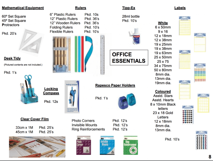 Office essentials and labels