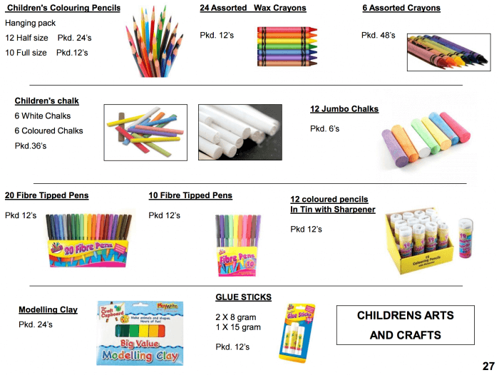 Childrens crafts pencils and felt tipped pens