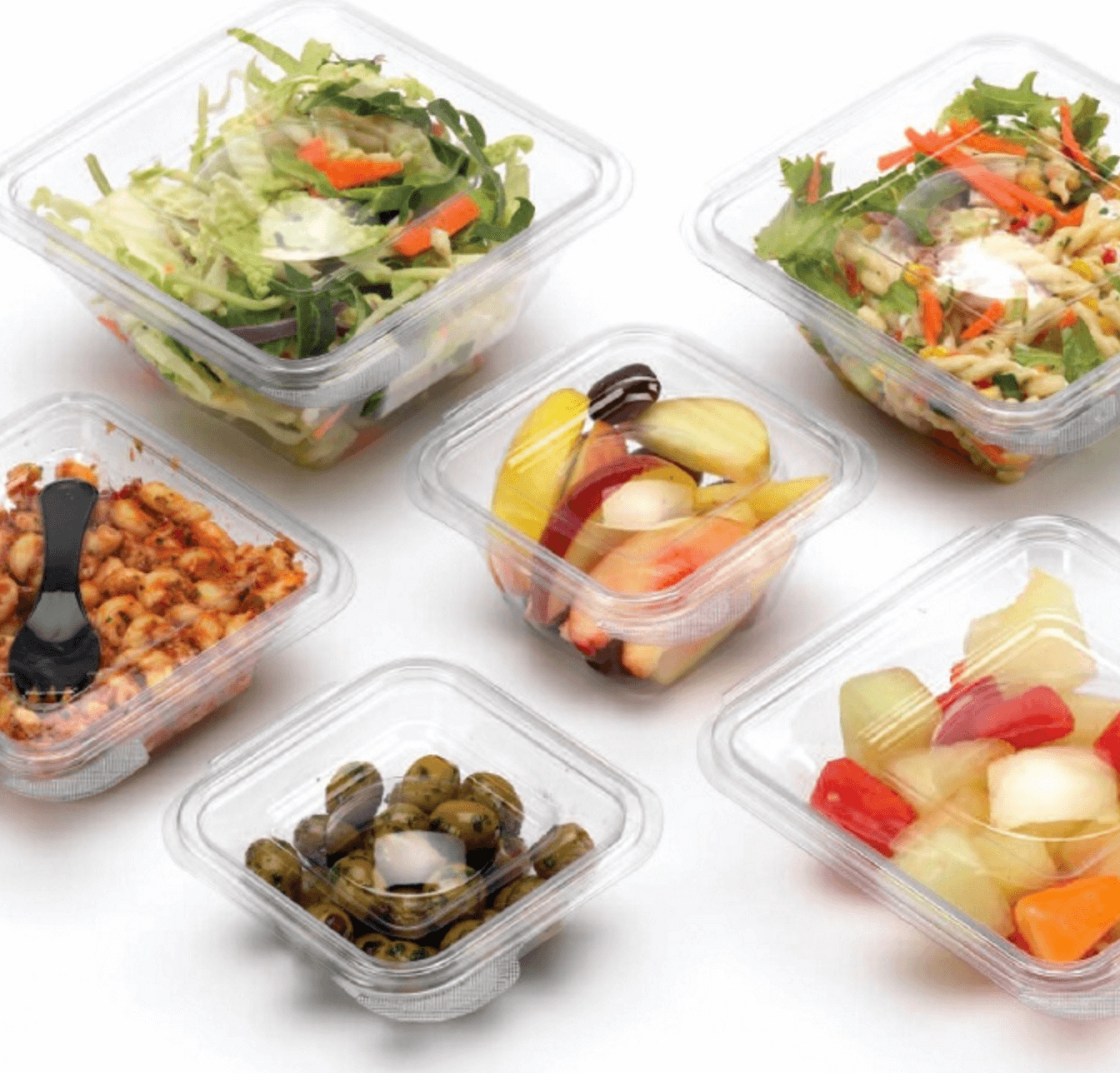 Clear hinged salad containers