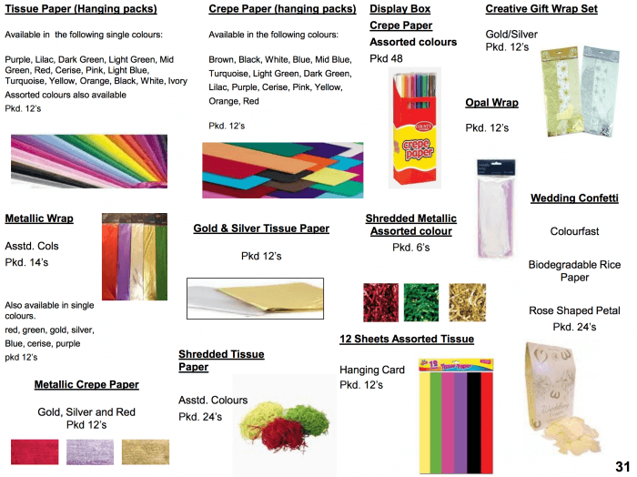 Tissue and crepe paper