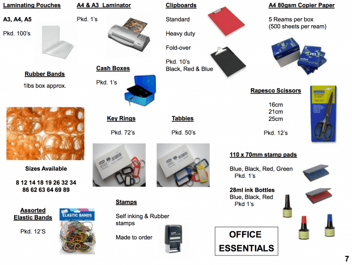 office essentials and laminators